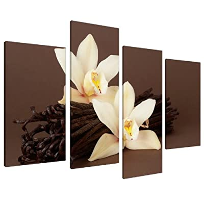 Brown Orchid Flower Floral Canvas Wall Art Pictures Set Prints XL 4121 produced by Wallfillers Canvas - quick delivery from UK.