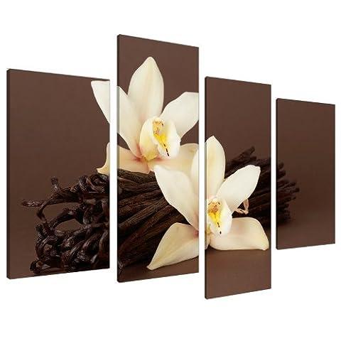 Tableau sur Toile - Fleur d'Orchidée Marron et Gousses de Vanille - 4 Parties - Wallfillers Canvas