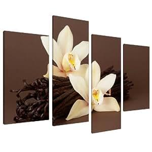Quadro su Tela floreale, orchidea marrone - Wall Art Foto Set Stampe XL 4121