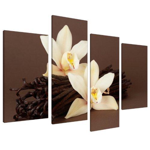 Wallfillers Cuadros en Lienzo Grande Floral Flor Orquídea Marrón Set de Imágenes XL 4121