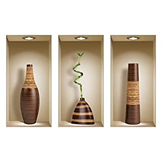 The Nisha Art Magic 3D Vinyl Removable Wall Sticker Decals DIY, Set of 3, Brown Vases 124