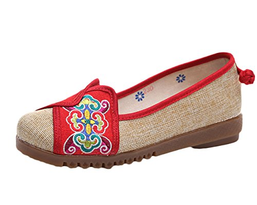 Icegrey Femmes Mary Janes Fait Main Broderie Fleur Ballerine Chaussures Plat Chaussures Bateau Rouge