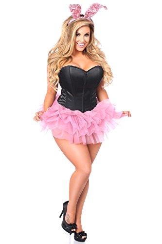 Daisy Corsetts Damen Korsett Korsett Übergröße Flirty Bunny Korsett Kostüm - Schwarz - 5X (Adult Playboy Bunny Kostüm)