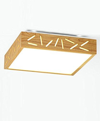 Kreative europäische Stil aus Holz - Einfache starre LED-Deckenleuchten Deckenleuchten starten die Schlafzimmer der Empfang Aufenthaltsraum (drei Laufwerke) Decke lampen Laternen leuchten (60*60 cm Farbe: Weniger dimmen Elektrode). (Stil-elektrode)