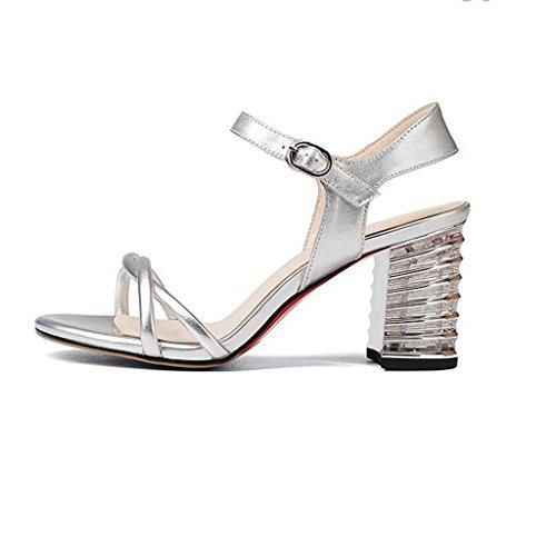 W&LM Signorina Tacco alto sandali vera pelle sandali Tendon bottom Greggio Tacchi alti Bocca poco profonda sandali Silver