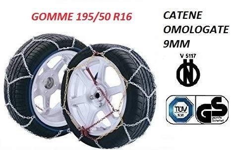 RICAMBIITALIA2017 Set Catene da Neve 9 millimetri per Auto OMOLOGATE TUV GS - V5117 Gruppo 70 (GOMME 195/50 R16)