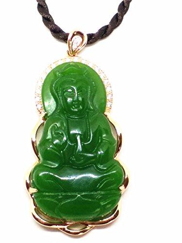 Jade-schmuck Frauen Für (14K Rose Gold Natural grün Jade Buddha Amulett Anhänger Frauen Schmuck)