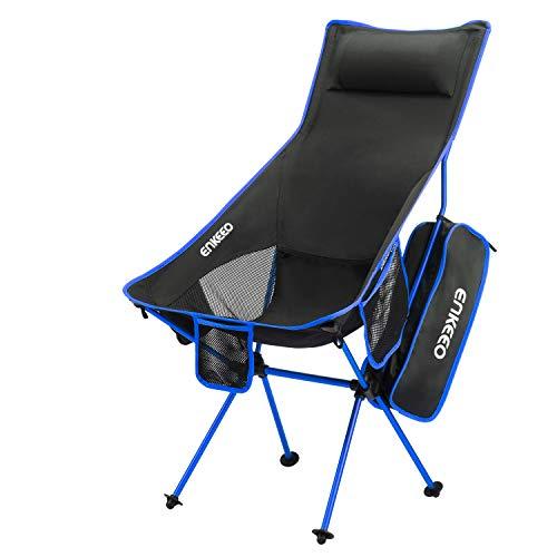 ENKEEO Campingstuhl Klappstuhl mit hoher Rückenlehne, Aluminium Ultraleicht Angelstuhl Faltstuhl, Belastbarkeit bis 150kg für Outdoor, Camping, Angel (Blau)