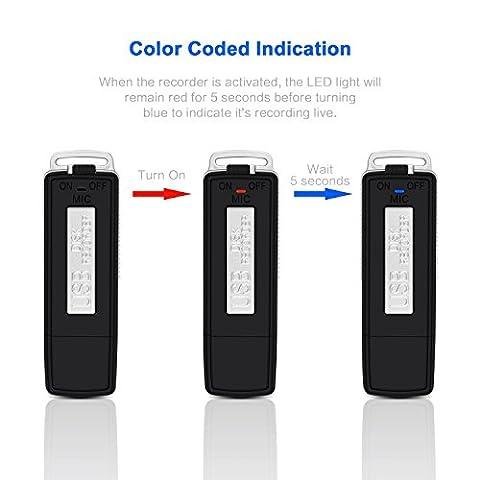 Enregistreur Audio Numerique - Etekcity® Enregistreur-Espion Clé USB 8 Go Dictaphone