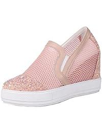 Smilun Wsfh010 - Zapatillas de Estar por casa de Piel para Mujer, Color Blanco, Talla 41