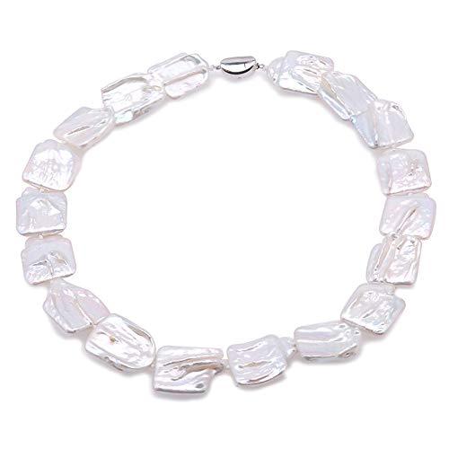 JYX barock perlenkette barock perlen weiße perlenkette weiß barock perlenkette natürliche weiße Süßwasserperle Schmuck 45,7 cm