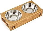 Mumoo Bear Double Pet Dog Bowl Stainless Steel Pet Bowl Bamboo Bottom Food Water Dual-use Feeding Dish