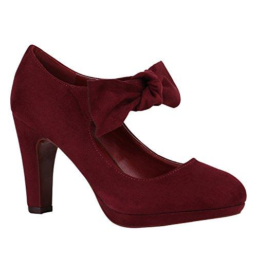 Damen Schuhe Pumps Mary Janes Veloursleder-Optik High Heels Blockabsatz 156802 Burgund Schleifen 39 ()