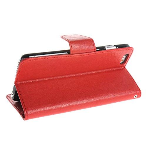 MOONCASE Étui pour Apple iPhone 6 / 6S Plus (5.5 inch) Coque en Cuir Portefeuille Housse de à rabat Protection Case Cover Bleu Rouge #1209