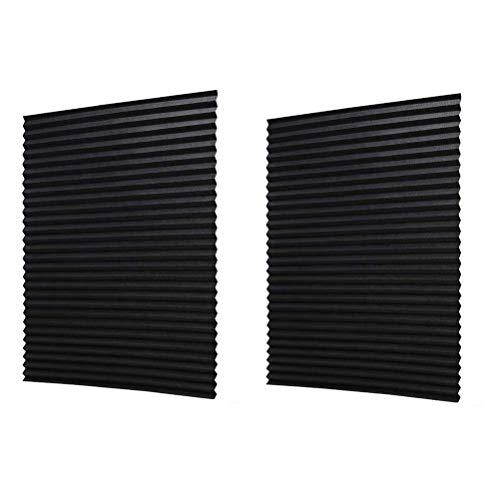 Vosarea Plissee Rollo Vliesstoff Selbstklebende ohne Bohren Vorhänge für Badezimmer Küche Balkon Fensterdekoration 2St (60x150cm) -