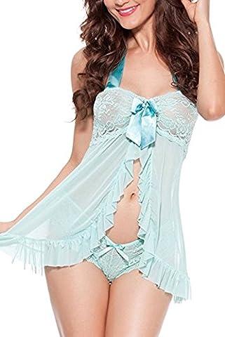 PERFECT LOVE Women's Sexy Lingerie Set Nightwear Baby Doll Lace Sleepwear(green-XXL)