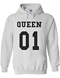 King Or Queen His And Hers Couple Valentines Novelty White Femme Homme Men Women Unisex Sweat à Capuche Hooded Sweatshirt Hoodie