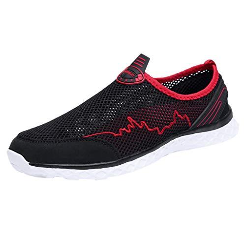 Xmiral Mesh Sneakers Herren Atmungsaktiv Rutschfest Badesandale Bootsschuhe Gummisohle Sportschuhe Laufschuhe Barfuß Wasserschuhe(Schwarz,40 EU)