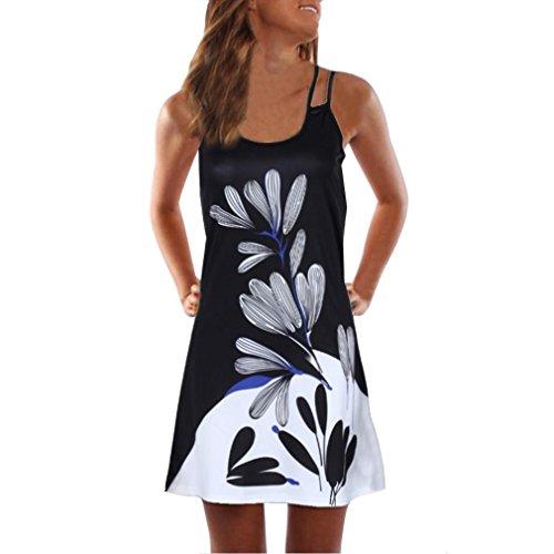 VEMOW Sommer Elegante Damen Frauen Lose Vintage Sleeveless 3D Blumendruck Bohe Casual Täglichen Party Strand Urlaub Tank Short Mini Kleid(Schwarz, EU-40/CN-L) Floral Sommer Tank Kleid