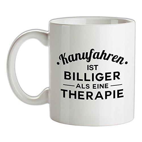 Kanufahren ist billiger als eine Therapie - Bedruckte Kaffee- und Teetasse