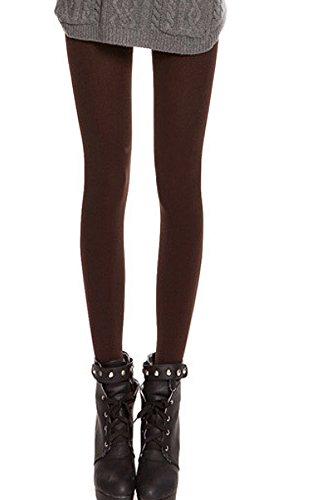 Térmico Caliente Pisotean pies Leggings Pantalones de Densamente cepillado forrado para Otoño invierno Señoras de las mujeres,Color Marrón