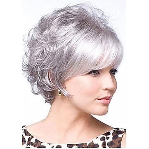 OOFAY JF® recién llegados pelo sintético gris plata peluca corta el pelo rizado envío libre