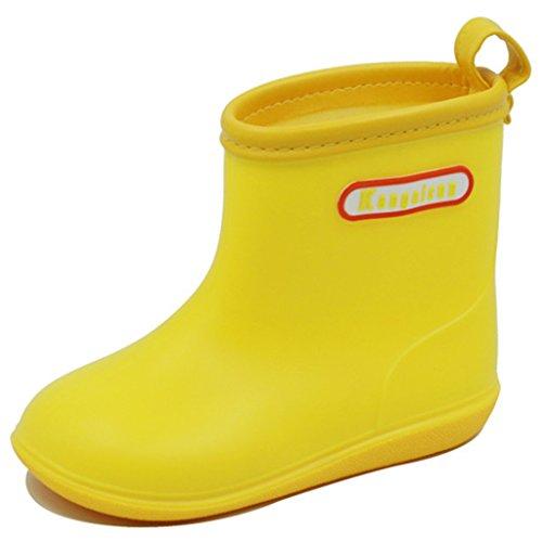 Kinder Regen Stiefel Gummistiefel - Baby Anti Rutsch Stiefel Jungs Mädchen Wasserdicht Gummischuhe Kleinkinder Einfach Sauber Komfortabel 1-6 Jahre,Rosa Gelb Blau - Stiefel Kleinkind-gelb Regen