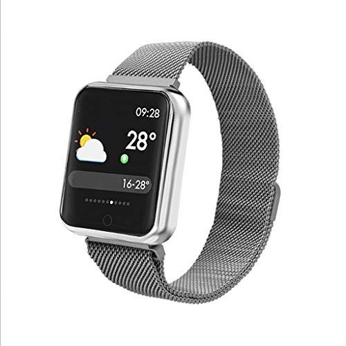 LBYMYB Smart Armband Farbe Bildschirm Tiefe wasserdichte Übung Herzfrequenz Blutdruck Schwimmen Schritt Zähler Multifunktions-Smart-Armband Smartwatch (Color : Silver)