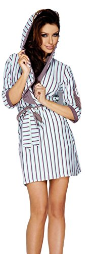 PIGEON biancheria intima molto Trend alette colorato a righe l'accappatoio cotone-cappotto con cappuccio e cintura Mehrfarbig/mokka