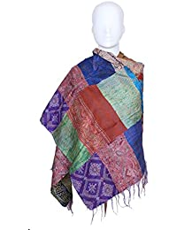 Indistar Vintage Silk Hand Quilted Kantha Hand Work Dupattas Reversible Scarves Scarf Patchwork Multicolor(80200... - B0767NZND9