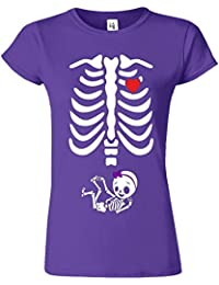 """SNS Online Pourpre - L - Ajuster: EU 42"""" - Adorable Skeleton Heart Dames T Top T-Shirt"""