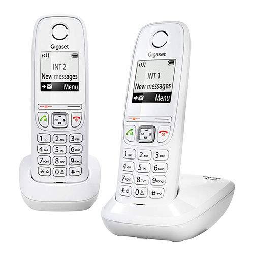 """Teléfono inalámbrico Duo, Manos Libres, Gigaset, 100 contactos, Pantalla gráfica iluminada 1.8"""", Letra tamaño Grande, Color Blanco. AS405"""