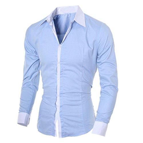 OHQ Camisa De Manga Larga para Hombre Negro Blanco Azul Gris Rosa Casual Delgado Personalidad Blanca Plaid Moda Manga Larga Chic Noche Hombres Top Blusa