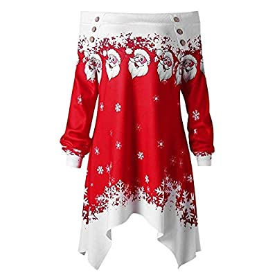 Weihnachten Damen Kleidung,Juliyues Frauen Weihnachten Print Off-Schulter Pullover Sweatshirt Langarmshirt Lang Tops Bluse