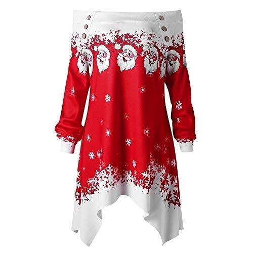 Geili Damen Weihnachten Pullover Christmas Weihnachtsmann Schnee Gedruckt Bluse Xmas Schulterfrei Langarmshirt Asymmetrisch T Shirt Tops Festlich Kostüm