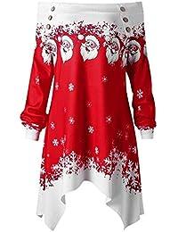 Mode Femmes Joyeux �� NoëL �� PèRe NoëL Imprimé Sweat-Shirt Collier AsyméTrique Chemisier �� Christmas �� Lonshell