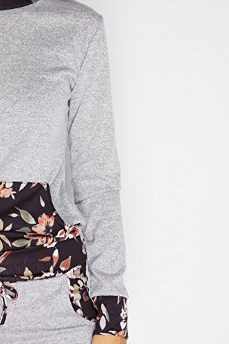 Mesdames Celebrity Inspired Floral Panel Pocket Loungeweat Set EUR Taille 36-42 Gris