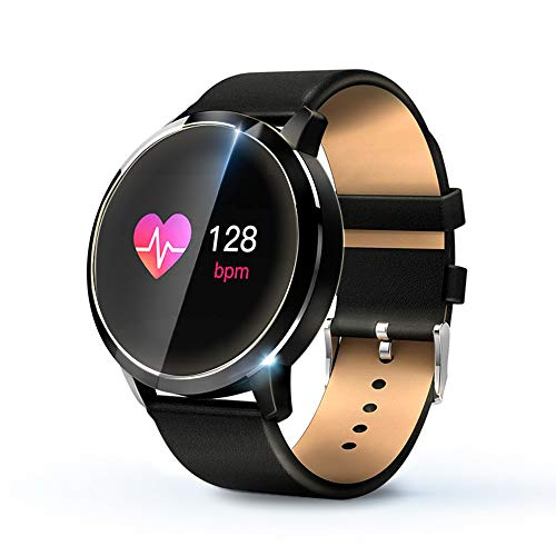 KawKaw Q8A Smartwatch & Activity-Tracker (Wasserdicht) - Fitnesstracker mit Schrittzähler,Kalorienzähler, Pulsmesser, Whatsapp, SMS, Vibration, Multi Sport-Tracker (Schwarzes Lederarmband)