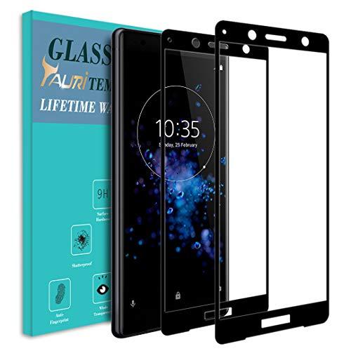 TAURI [2 Stück Schutzfolie für Sony Xperia XZ2 Compact Panzerglas, [Volle Abdeckung] [9H Härte] Gehärtetem Glas Folie Hartglas Bildschirmschutzfolie - Schwarz