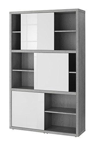 Finest libreria a dodici vani con ante scorrevoli color cemento e bianco laccato lucido with - Librerie a ponte ikea ...