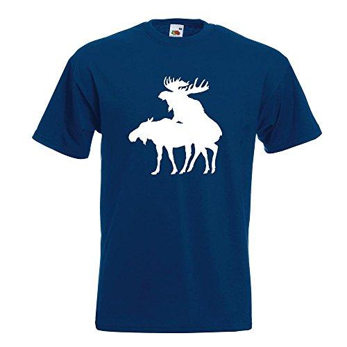 KIWISTAR - Elche Kopulierend T-Shirt in 15 verschiedenen Farben - Herren Funshirt bedruckt Design Sprüche Spruch Motive Oberteil Baumwolle Print Größe S M L XL XXL Navy