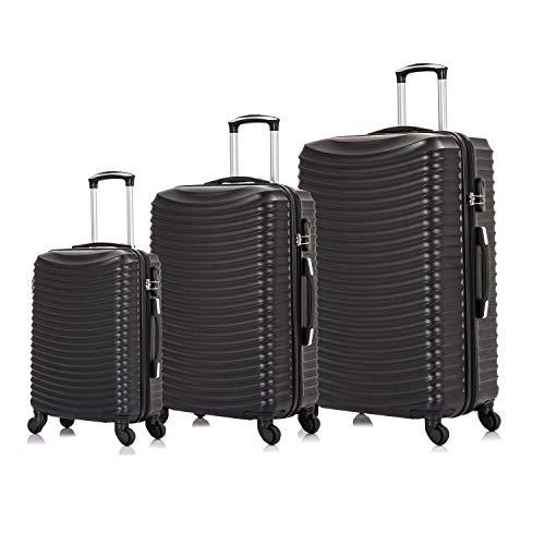 Vallexy Set di valigie Leggera Valigetta con guscio rigido Shell Set da 3 pezzi Bagaglio a mano(55X40X20 CM) + Bagaglio medio (65X43X23 CM)+ Bagaglio grande(74X49X27 CM)(20' 24' 28')(Nero)
