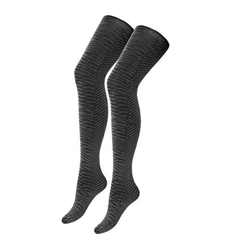 Ergora Damen Strumpfhose Fashion 80 Den in Grau/Schwarz Gr. 44/46 Blickdicht, trendige Animal-Optik 2-farbig (Nur Comfort-strumpfhose)