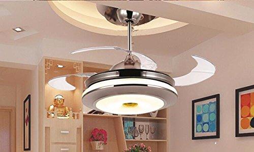 CTREKE Deckenventilator Licht LED Schlafzimmer Wohnzimmer Kinder Deckenventilator Inneneinrichtung unsichtbare moderne einfache Durchmesser 50cm Höhe 42cm32 * 2W Fernbedienung -