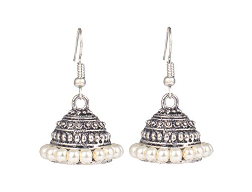 Sansar India Oxidized Silver Plated Handmade Beaded Jhumka Earrings for Girls and Women  available at amazon for Rs.149