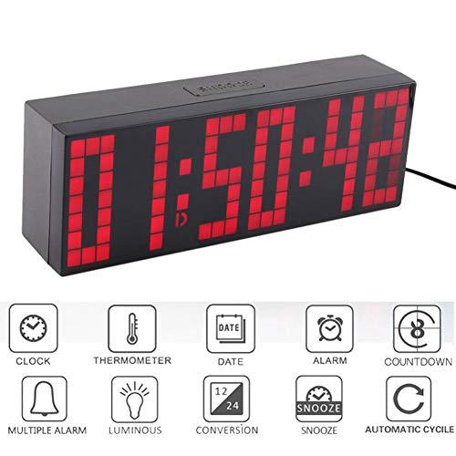 GOUPPER Digital Led Display Wall Clock,9 45×3 28inch Remote Control Jumbo  Large Big Digits Clock LED Display Desk Clock with Alarm Calendar