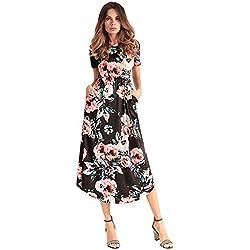 Mujeres Seda O-Cuello de Manga Corta Floral de impresión Midi Maxi Fiesta Beach Dress Negro M