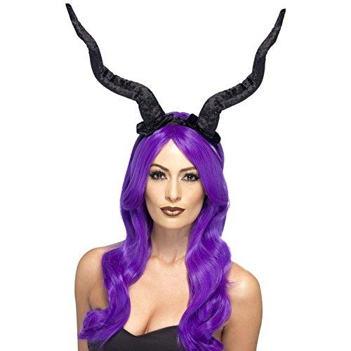 Smiffy's 27829 - Dämon Hörner Stirnband Flexible, Kostüm, schwarz (Dämonen Kostüme)