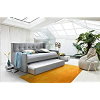 ROYALE COMFORT Montreal Fabric Day Bed with Trundle Upholstered Light Grey 3FT Single Pull Out Guest Bedstead