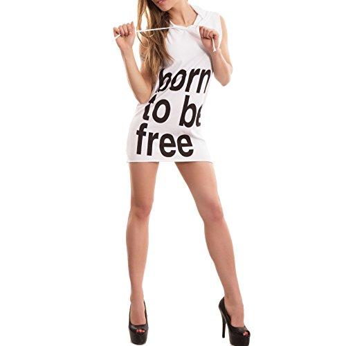 Toocool - Vestito donna miniabito maximaglia corto born to be free cappuccio nuovo CC-1304 Bianco